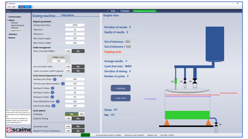 SCAIME eNodView software for dosing and DVX digital load cell